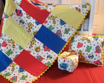 Baby Quilt Jungle Animal Theme Fabric Primary Colors Satin Ribbon Ties Rick Rack Matching Fabric Play Block & Matching Pillow Baby Gift idea