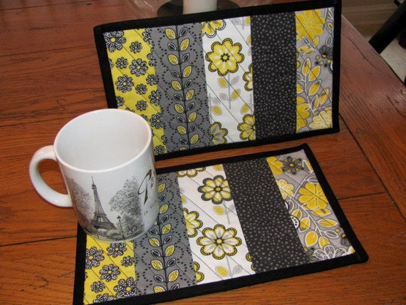 Quilted Mug Rug Gray and Yellow Set of Two Mug Mats