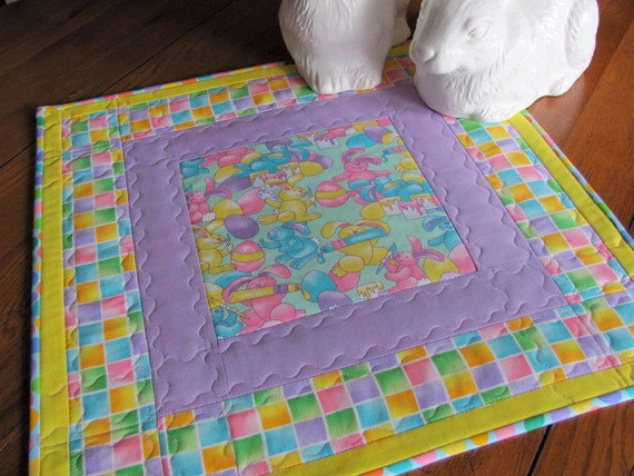 Quilted Easter Table Topper Runner With Bunny And