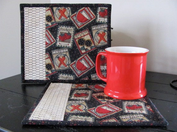 Quilted Mug Rug Debbie Mumm Seed Packet Fabric Black and Red Cottage Chic Set of Two Mug Mats