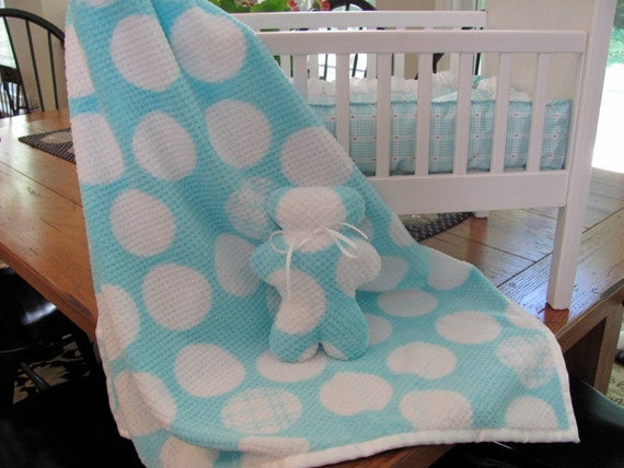 Blue and White Minky Hoodie Blanket with Matching Teddy Bear with Satin Binding