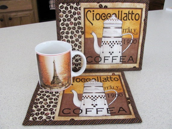 GABYS SPECIAL ORDER   Quilted Mug Rugs Coffee Theme French Country Set of Two Mug Mats