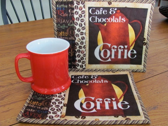 Quilted Mug Rugs Coffee Theme French Country Set of Two Mug Mats