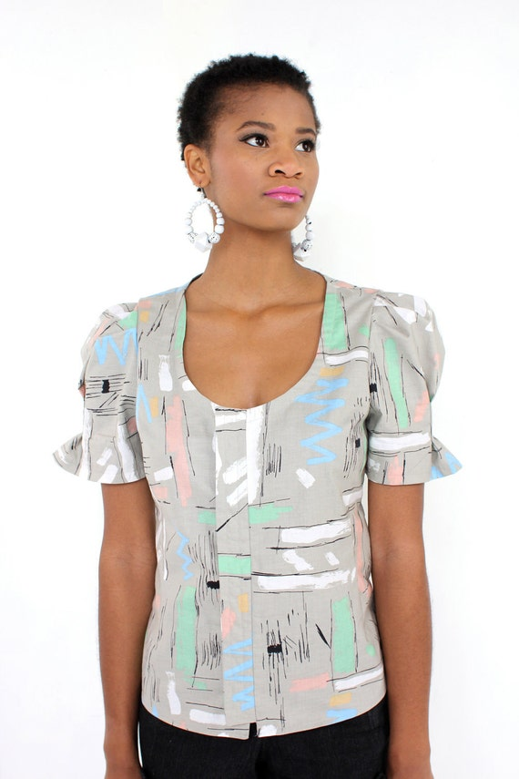 Modern Art Tailored Blouse -- IN STOCK Size S