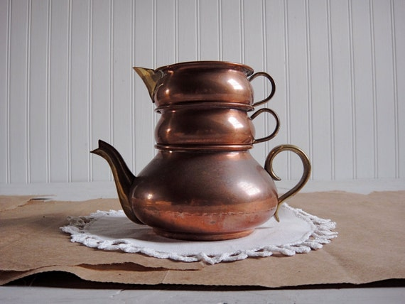Vintage Copper Teapot-  Small Stackable