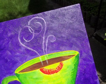 original painting --Café au Love-- mixed media on stretched canvas