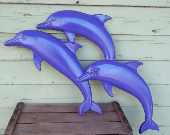vintage dolphin upcycle -Syroco wall hanging updated for modern times