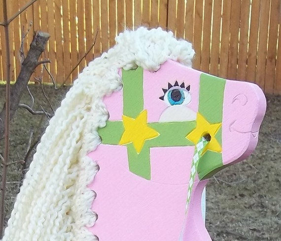 sweet pink stick horse- hand painted and upcycled pony