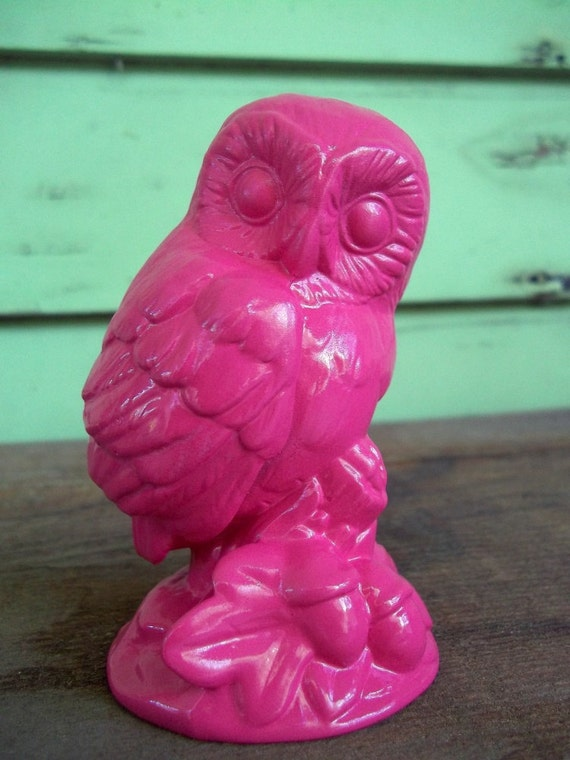hot pink owl - upcycled figurine