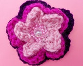 Flower Brooch in Pink and Purple with Decorative Beaded Centre