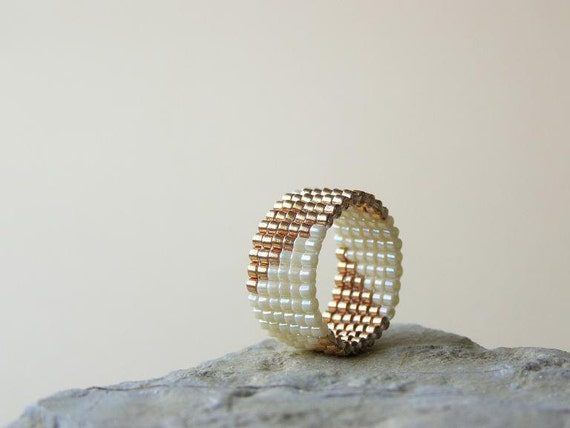 Happy Rings, Handbeaded Ring in Champagne Gold and Rainbow Cream