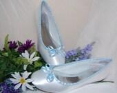 Something Blue Custom Designer White Bridal Ballet Flats