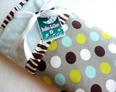 "Custom Listing Mom's Lifesaver : Whoopsie Leak Proof ""Polka Dot Zebra"" Blue Minky Baby Blanket 30"" x 40"""