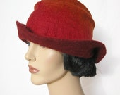 Sophisticated red felt woman hat - to order