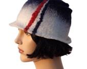 Retro hat, summer blue white felt cloche hat, 1920s inspired hat, art deco fashion, vintage inspired, 20s accessory