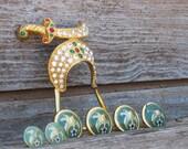 Vintage Shriner Lot, Rhinestone Fez Tassel Pin and Metal and Enamel Button Set