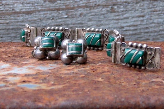 Vintage Mexican Taxco Sterling Bracelet and Earring Set
