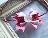 LAST One and Ready To Ship // Mini Boutique Hair Bow Newborn Baby Small Elastic Hello Kitty Headband