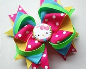 Bright and Colorful Hello Kitty Polka Dot Hair Bow