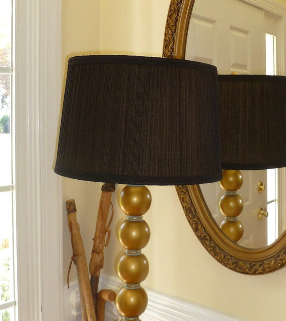 Stacked Ball Floor Lamp: Mid Century Style Brass By