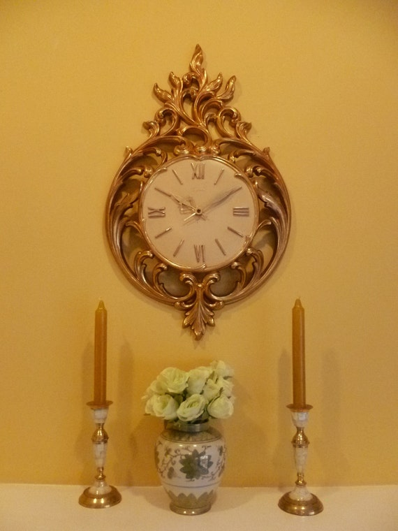 Mid Century Ornate Gold Wall Clock by Syroco - Hollywood Regency Rococo Style