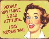 Cross Stitch Pattern - Funny Bad Attitude - PDF - Instant Digital Download - SALE