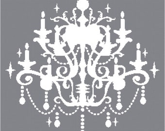 Cross Stitch Pattern - Chandelier Silhouette 1  - PDF -  Instant Digital Download