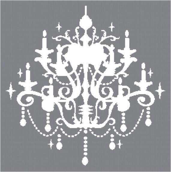 Cross Stitch Pattern - Chandelier Silhouette 1  - PDF -  Instant Digital Download - SALE