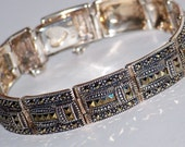 VINTAGE ART DECO,  Sterling Silver Marcasite Bracelet, 31 grams