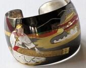 VINTAGE STERLING SILVER, Sakai,  Etched Enameled Cuff Bracelet, 30 grams