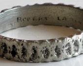 Modernist Robert Larin Silver Pewter Signed Bangle Bracelet