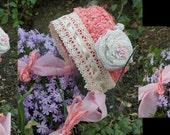 Crochet shabby chic sari silk bonnet.0-3 months