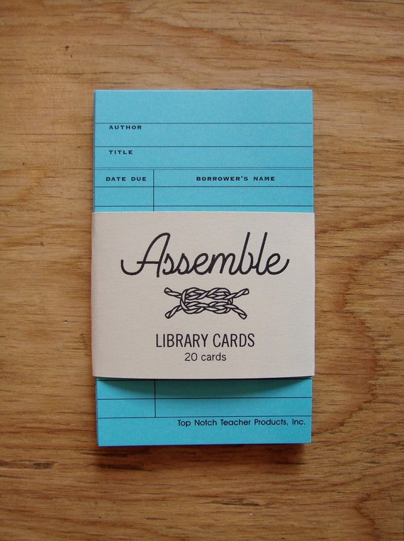 20 Vintage-Style Library Cards - BRIGHT BLUE