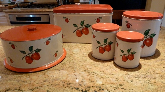 Metal canister set.  Bread box for your vintage kitchen
