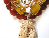 SALE   Yellow CHALCEDONY, CARNELIAN Necklace, Carved Bone Pendant, Vermeil