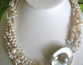 BRIDAL  5 Strand Natural White PEARLS With MABE Pearl Clasp in Sterling Silver and Crystals