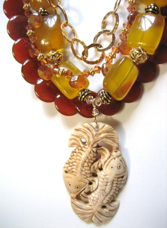 SALE   Yellow CHALCEDONY, CARNELIAN Necklace, Carved Bone Pendant, Vermeil