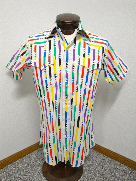 Vintage Men's Amazing Size Medium Colorful Western Shirt
