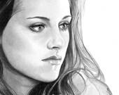 Kristen Stewart, Bella from Twilight, Portrait 8x10 Fine Art Print by Wendy Hogue Berry