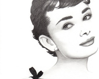 Movie star audrey hepburn celebrity drawing pencil portrait