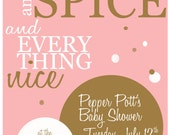 Sugar and Spice, Pink and Brown Baby Shower Invitation, Activity, and Game
