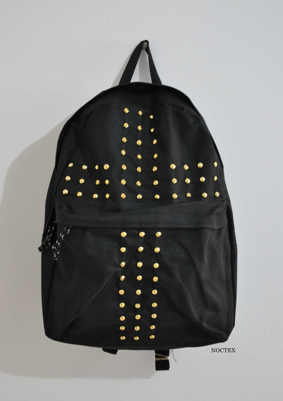 Crossed-OUT Studded Crucifix Backpack - Gold Studs