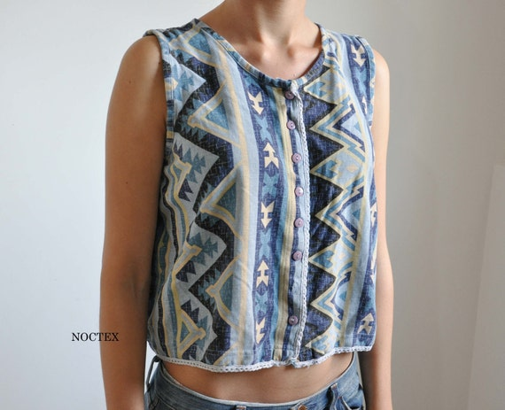Vintage 90s Faded Navajo Button Up Tank Top
