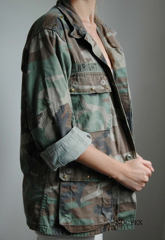 Reworked Gold Studded and Patched Smaller Army Jacket