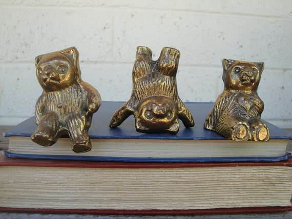 3 Small Vintage Brass Bears HOLD FOR NATHALIE