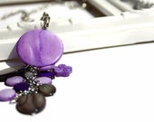 SALE Fashion necklace with chunky pendant in purple and black lake shells beads.