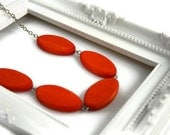 Chunky bead necklace. Tangerine orange necklace with wood beads. Perfect summer fashion.
