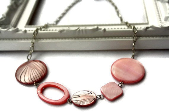 SALE Pastel color necklace in light pink and stripped rose lake shells beads. Chunky necklace.
