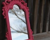 Antique Upcycled Mirror Hot Pink