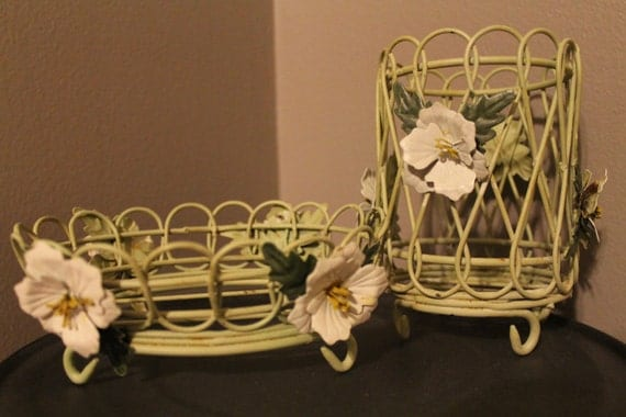 Shabby Chic Dish and Cup Holder Set/ Organizer for office country cottage kitchen bathroom decor green floral